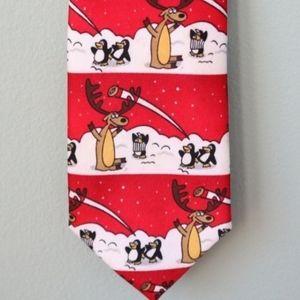 Christmas Deer Penguin Snow Fight Tie